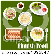 Clipart Of A Meal Of Finnish Food With Text On Green Royalty Free Vector Illustration by Vector Tradition SM