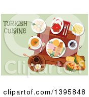 Meal Of Turkish Cuisine With Text On Green