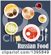 Clipart Of A Meal Of Russian Cuisine With Text On Blue Royalty Free Vector Illustration