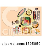 Meal Of Japanese Cuisine On Pastel Orange