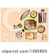 Poster, Art Print Of Meal Of Japanese Cuisine On Pastel Orange