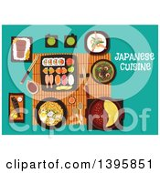 Clipart Of A Meal Of Japanese Cuisine With Text On Turquoise Royalty Free Vector Illustration by Vector Tradition SM