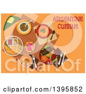 Clipart Of A Meal Of Argentine Cuisine With Text On Orange Royalty Free Vector Illustration