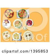 Clipart Of A Meal Of Spicy Pork Tofu Pasta Creamy Mussel Soup Broccoli And Apple Salad With Nuts Stuffed Bell Peppers Etc On Orange Royalty Free Vector Illustration