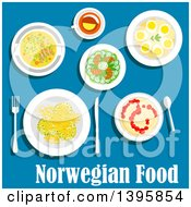 Clipart Of A Meal Of Norwegian Cuisine With Text On Blue Royalty Free Vector Illustration by Vector Tradition SM
