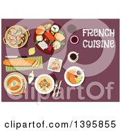 Clipart Of A Meal Of French Cuisine With Text On Purple Royalty Free Vector Illustration