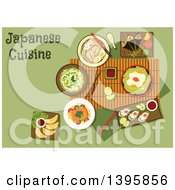 Clipart Of A Meal Of Japanese Cuisine With Text On Green Royalty Free Vector Illustration by Vector Tradition SM