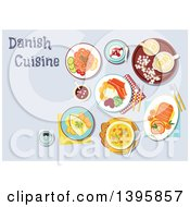 Clipart Of A Meal Of Danish Cuisine With Text Royalty Free Vector Illustration