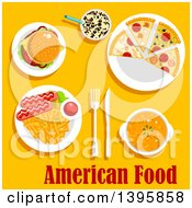 Clipart Of A Meal Of American Cuisine With Text On Yellow Royalty Free Vector Illustration