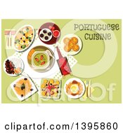 Clipart Of A Meal Of Portuguese Cuisine With Text On Green Royalty Free Vector Illustration