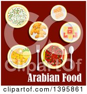 Clipart Of A Meal Of Arabian Cuisine With Text On Red Royalty Free Vector Illustration
