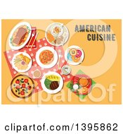 Clipart Of A Meal Of American Cuisine With Text On Orange Royalty Free Vector Illustration