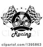 Clipart Of A Silhouetted Motorcycle Tire Blank Banner Text And Crossed Racing Flags With Stars Royalty Free Vector Illustration