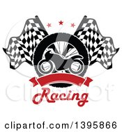 Silhouetted Motorcycle Tire Red Blank Banner Text And Crossed Racing Flags With Stars