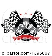 Clipart Of A Silhouetted Motorcycle Tire Red Blank Banner And Crossed Racing Flags With Stars Royalty Free Vector Illustration by Seamartini Graphics