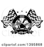 Clipart Of A Silhouetted Motorcycle Tire Blank Banner And Crossed Racing Flags With Stars Royalty Free Vector Illustration