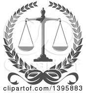 Clipart Of A Laurel Wreath With Legal Gray Scales Of Justice Royalty Free Vector Illustration