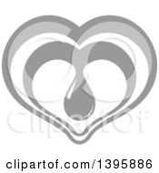 Clipart Of A Gray Heart With A Blood Drop Royalty Free Vector Illustration