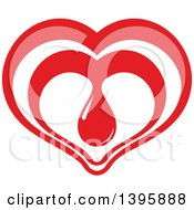 Clipart Of A Red Heart With A Blood Drop Royalty Free Vector Illustration