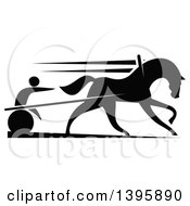Clipart Of A Black Silhouetted Jockey And Horse Harness Racing Royalty Free Vector Illustration by Vector Tradition SM