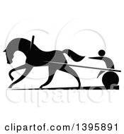 Clipart Of A Black Silhouetted Jockey And Horse Harness Racing Royalty Free Vector Illustration