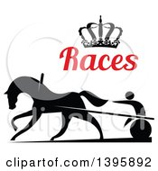 Black Silhouetted Jockey And Horse Harness Racing Under A Crown And Red Text