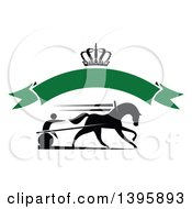 Black Silhouetted Jockey And Horse Harness Racing Under A Crown And Blank Green Banner