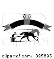 Black Silhouetted Jockey And Horse Harness Racing Under A Crown And Blank Banner