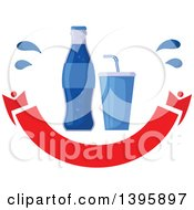 Clipart Of A Blue Soda Bottle And Soft Drink Over A Blank Banner Royalty Free Vector Illustration