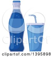 Clipart Of A Blue Soda Bottle And Soft Drink Royalty Free Vector Illustration