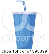 Clipart Of A Blue Fountain Soda Cup Royalty Free Vector Illustration