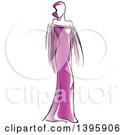 Sketched Faceless Woman Modeling A Purple Dress