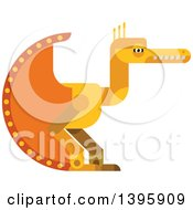 Clipart Of A Flat Design Yellow Pterodactyl Dinosaur Royalty Free Vector Illustration by Vector Tradition SM