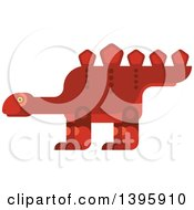 Clipart Of A Flat Design Red Stegosaurus Dinosaur Royalty Free Vector Illustration by Vector Tradition SM
