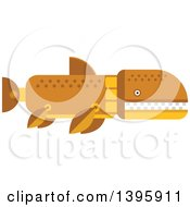 Clipart Of A Flat Design Prehistoric Shark Dinosaur Royalty Free Vector Illustration