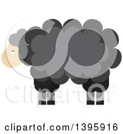 Clipart Of A Flat Design Black Sheep Royalty Free Vector Illustration by Vector Tradition SM