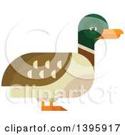 Clipart Of A Flat Design Mallard Duck Royalty Free Vector Illustration by Vector Tradition SM