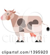 Clipart Of A Flat Design Cow Royalty Free Vector Illustration