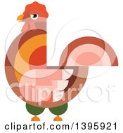 Clipart Of A Flat Design Rooster Royalty Free Vector Illustration by Seamartini Graphics