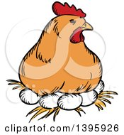 Clipart Of A Sketched Chicken Hen Resting On Eggs Royalty Free Vector Illustration