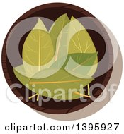 Clipart Of A Small Bowl Of Culinary Spices Bay Leaves Royalty Free Vector Illustration