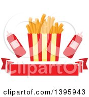 Clipart Of A Carton Of French Fries With Ketcup Over A Banner Royalty Free Vector Illustration by Vector Tradition SM