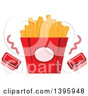 Clipart Of A Carton Of French Fries With Ketchup Royalty Free Vector Illustration