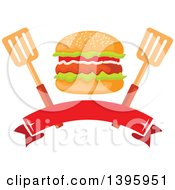 Clipart Of A Hamburger With Spatulas Over A Blank Banner Royalty Free Vector Illustration