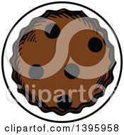 Clipart Of A Sketched Chocolate Chip Cookie Royalty Free Vector Illustration