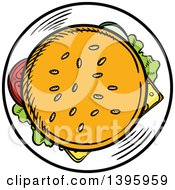 Clipart Of A Sketched Cheeseburger Royalty Free Vector Illustration by Vector Tradition SM