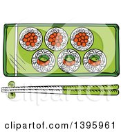 Clipart Of A Sketched Japanese Sushi Platter And Chopsticks Royalty Free Vector Illustration by Vector Tradition SM