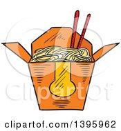 Clipart Of A Sketched Chinese Takeout Container Of Noodles Royalty Free Vector Illustration