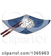 Clipart Of A Sketched Chinese Plate Of Rice Royalty Free Vector Illustration