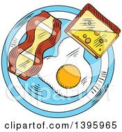 Clipart Of A Sketched Breakfast Plate With A Freid Egg Toast And Bacon Royalty Free Vector Illustration by Vector Tradition SM